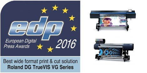 Jerry Davies (President EMEA for Roland DG) accepted the award for 'Best wide format print & cut solution' for the TrueVIS VG-640 and VG-540 and 'Best wide format roll to roll printer up to 170 cm' for the SOLJET EJ-640.