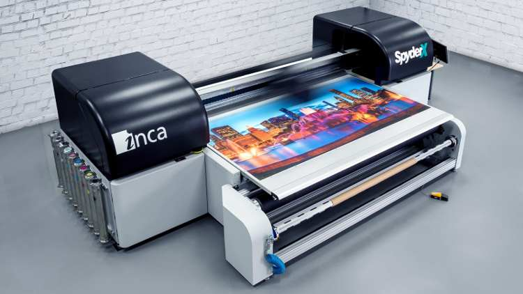 Inca SpyderX, a UV wide format press, making its North American debut, designed and manufactured by Inca Digital.