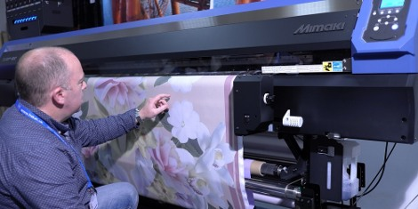 Dr Roger Spark examines printed cloth on the new Mimaki Tx300P-1800 digital textile printer
