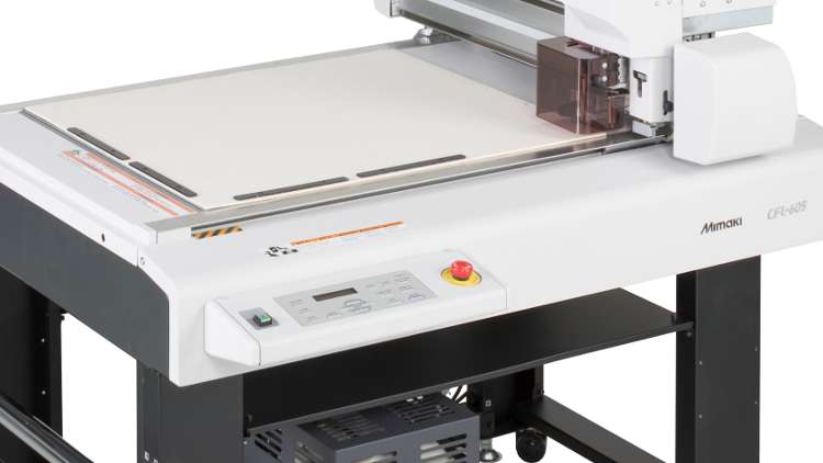 Mimaki CFL-605RT flatbed cutting plotter, which offers both creasing and cutting capabilities.