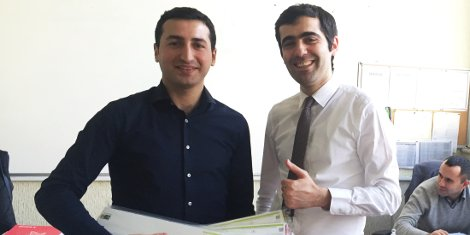 Altair's Nazdar Brand Product Manager Asim Huseynov (left) and General Manager Balagha Jafarov (right) give Nazdar the 'thumbs up'.
