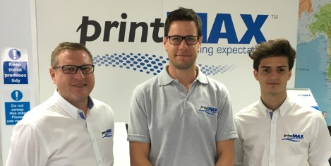 printMAX welcomes industry experienced Stewart Cobby (Sales manager, left), returning South African Shane Barrett (Technical consultant, middle) and fresh blood Jamie Stoker (Sales support consultant)