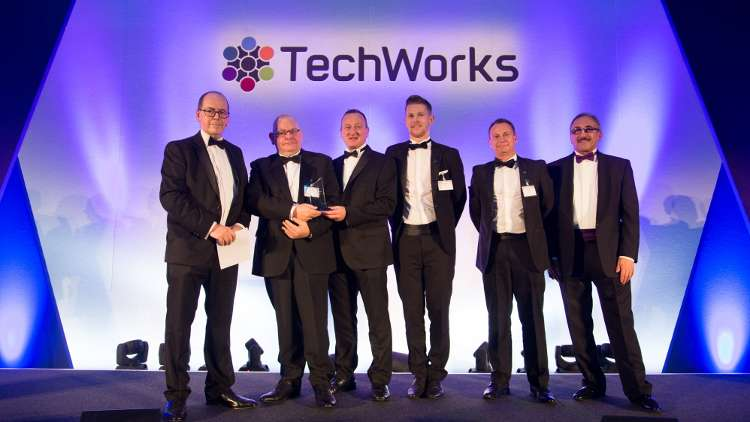 "Xaar picked up its ""Manufacturing Site of the Year"" award from BBC technology correspondent Rory Cellan-Jones."