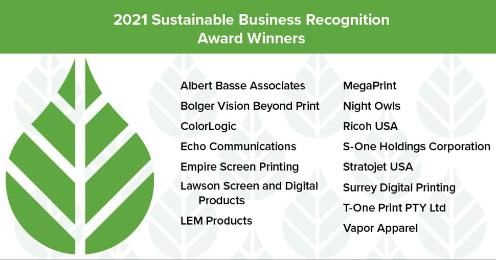PRINTING United Alliance announces the recipients of its Annual Sustainable Business Recognition Awards on Earth Day 2021.