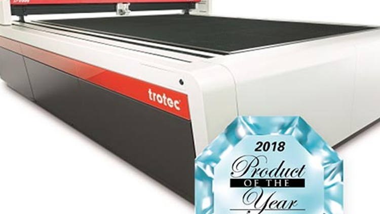 Trotec's SP2000 large format laser cutter honored with SGIA 2018 Product of the Year Award.