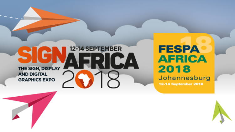 FESPA Africa and Sign Africa expos, taking place at the Gallagher Convention Centre in Johannesburg (19 Richards Dr, Halfway House, Midrand, 1685) from 12 - 14 September 2018 from 9am - 5pm.