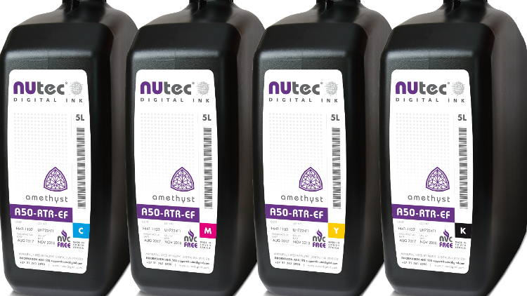 NUtec's Amethyst UV inks for EFI printers are available for roll to roll printers as the A50-RTR-EF or for hybrid printers as the A50-HYB-EF.