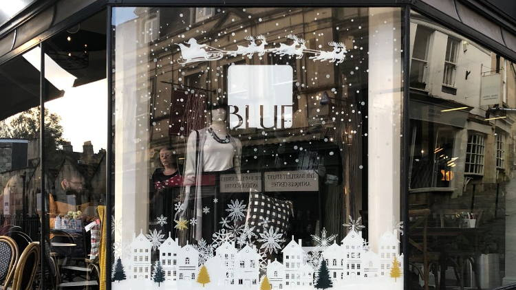 Drytac transforms Bath concept store window into Christmas wonderland.