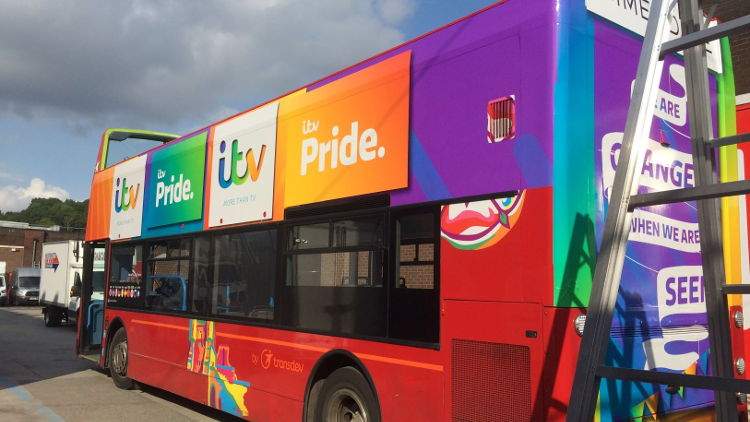 Drytac SpotOn used on Emmerdale bus at Leeds Pride.