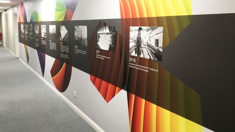 Soyang Europe honours long-standing partnership with Soyang Technologies with celebratory wall graphic.