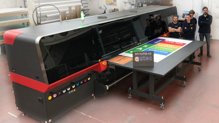 The EFI VUTEk h3 will replace the company's EFI VUTEk GS 3250 printer, and will operate alongside its existing Esko X-44 digital cutting table, installed 18 months ago and also purchased from CMYUK.