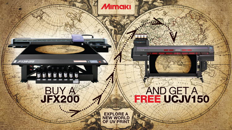 Hybrid includes free Mimaki UV roll-to-roll printer/cutter with JFX200 flatbed.