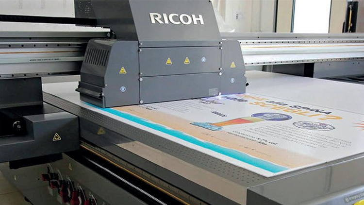 Ricoh Pro TF6250 large format UV flatbed printer delivers media versatility and productivity for sign & display and décor sectors.