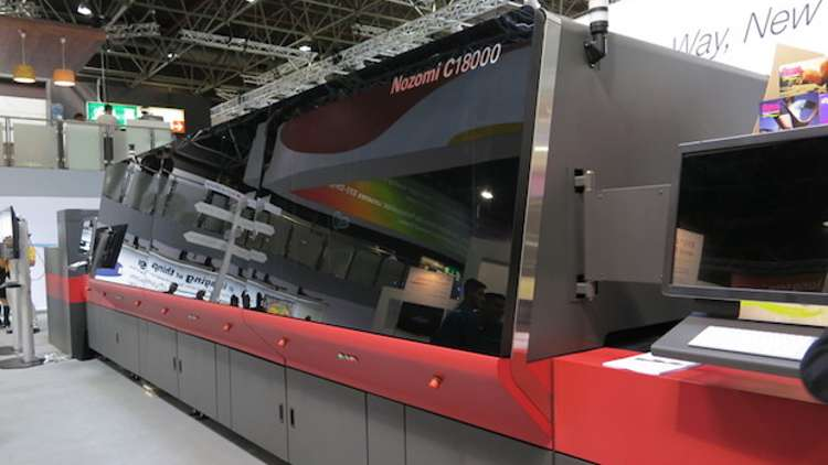 The executives are the very first users of EFI's groundbreaking single-pass LED inkjet corrugated board digital press, the EFI Nozomi C18000.
