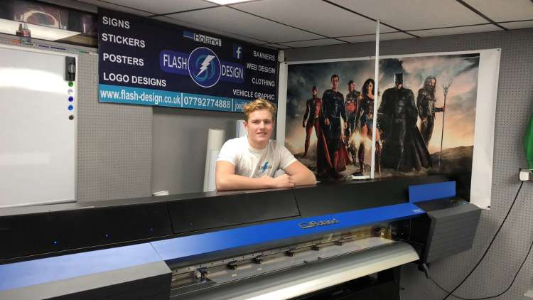 15 year old entrepreneur at Flash Design selects Roland TrueVIS printer