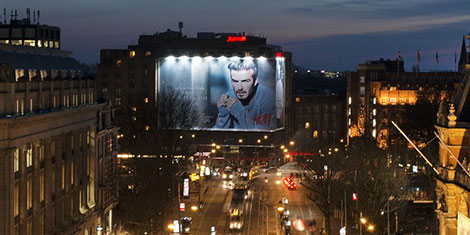 David Beckham billboard H M Amsterdam