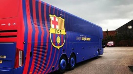 Covering the entire team bus including the windows, the vehicle wrap - featuring FC Barcelona's colours and crest - was printed by Astra Signs onto an innovative PVC material from Drytac's Polar range.