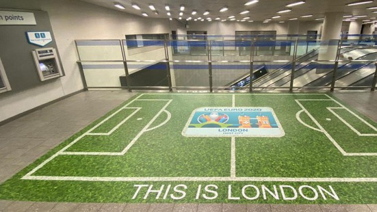 Family-run Links Signs has used Drytac Polar Grip to produce an attention-grabbing range of graphics at London Underground stations to celebrate the Euro 2020 football tournament.