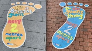 Bristol-based N3 Display Graphics used Drytac Polar Street FX to produce a series of creative floor graphics encouraging social distancing on streets across the city.